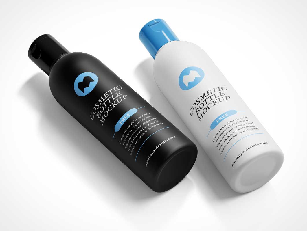 Cosmetic Shampoo Lotion Bottle & Snapcap PSD Mockup