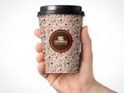 Hand Held Coffee Cup & Plastic Sip Lid PSD Mockup