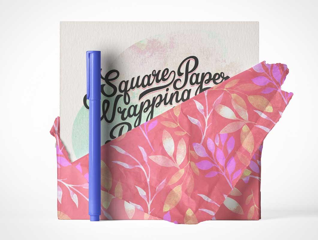 Paper Wrapped Square Invitation Card & Pen Stylus PSD Mockup
