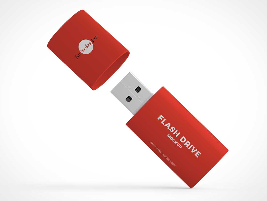 Pocket Chain USB Flash Thumb Drive PSD Mockup