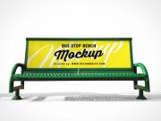 Public Bench Banner Advertising Made of Steel PSD Mockup