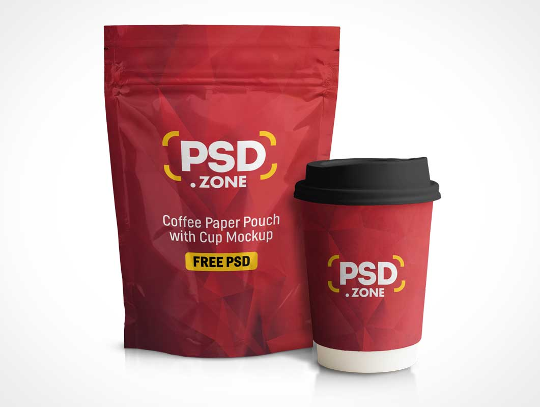 Vacuum Sealed Ziplock Foil Pouch & Coffee Cup PSD Mockup
