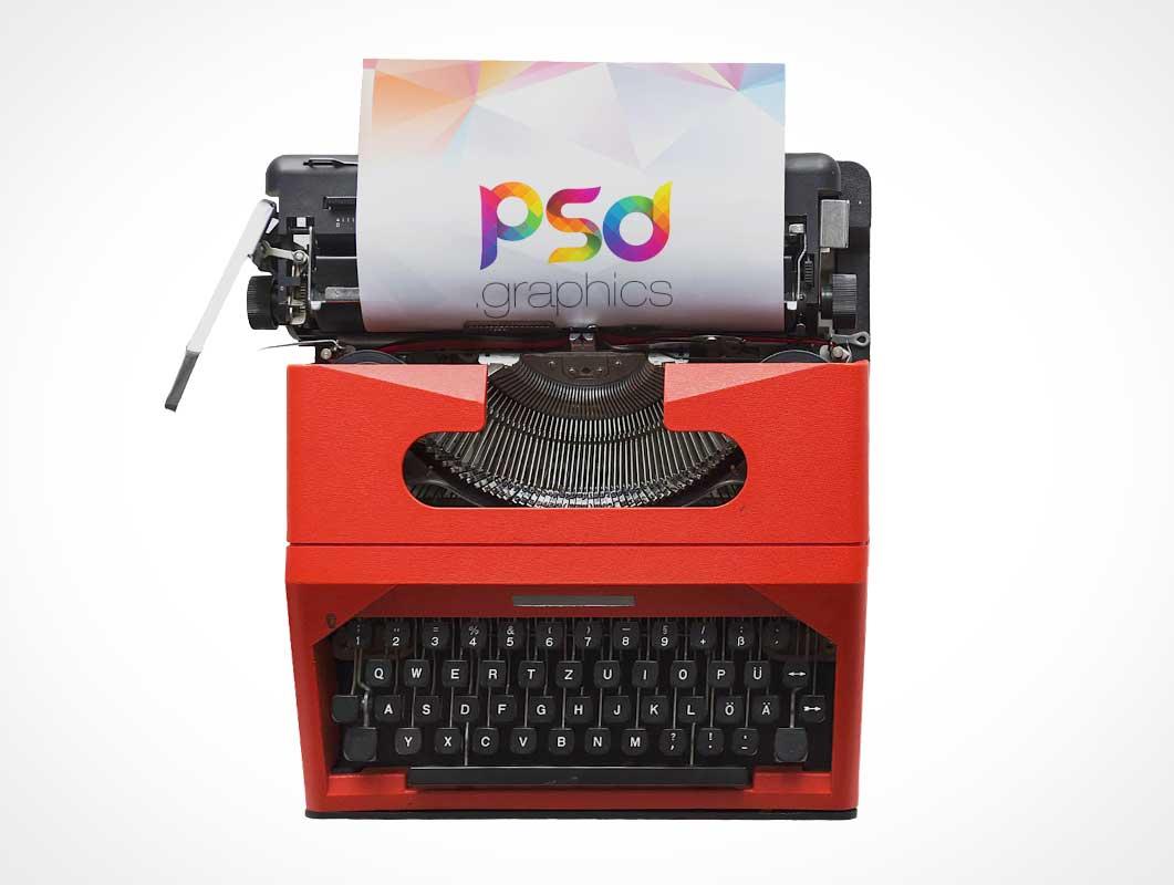 Vintage Office Typewriter & Sheet Paper PSD Mockup
