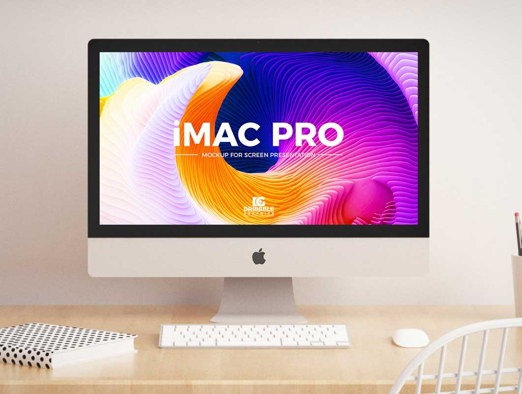 iMac Pro Desktop Workstation Home Office PSD Mockup