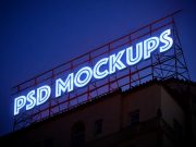 Backlit Neon Roof Billboard Advertising PSD Mockup