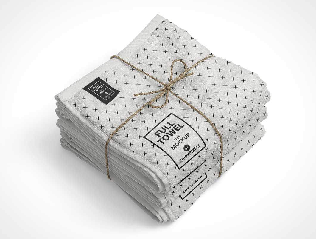 Bundled Bathroom Cotton Towels & Drawstring PSD Mockup