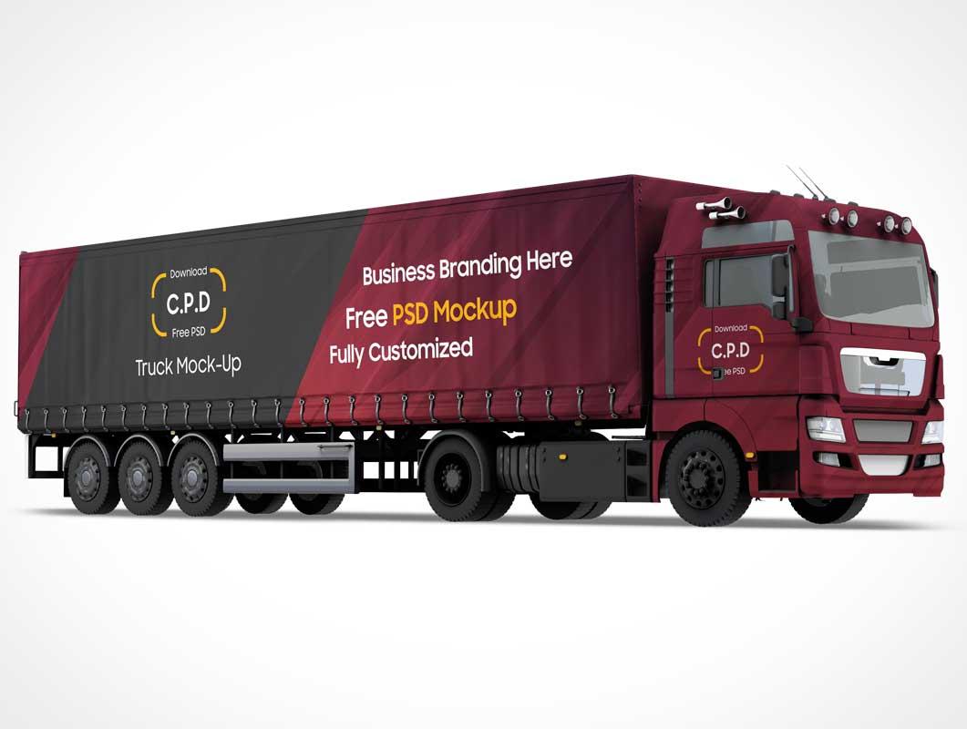 Cargo Transport Truck Trailer & Cabin PSD Mockup