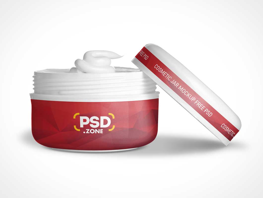 Cosmetic Beauty Cream Container Jar & Cover PSD Mockup