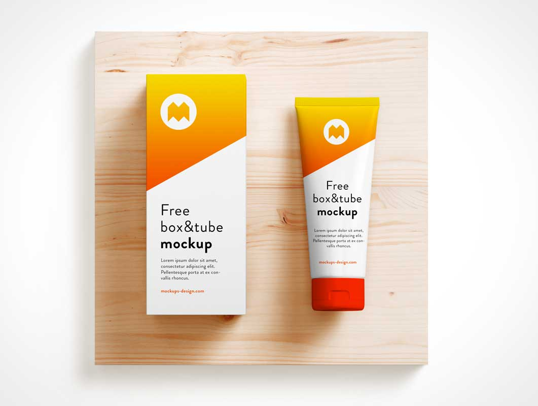 Cosmetics Cream Lotion Tube Packaging & Box PSD Mockup