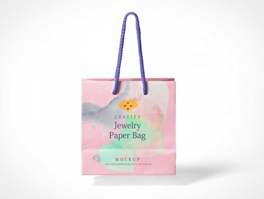 Floating Paper Boutique Shopping Bag & Carry Handle PSD Mockup