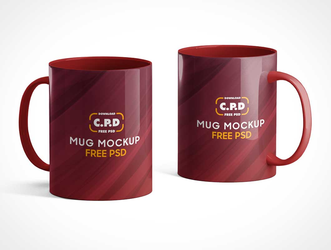 Large 19oz Ceramic Coffee Mugs & Handles PSD Mockup