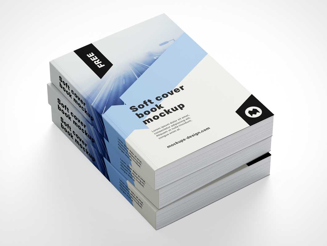Large Softcover Book Stack PSD Mockup