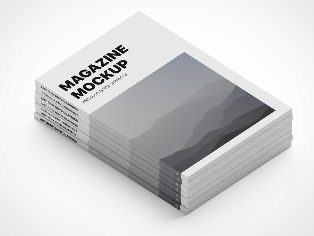 Magazine Staked Pile Front Page Covers PSD Mockup