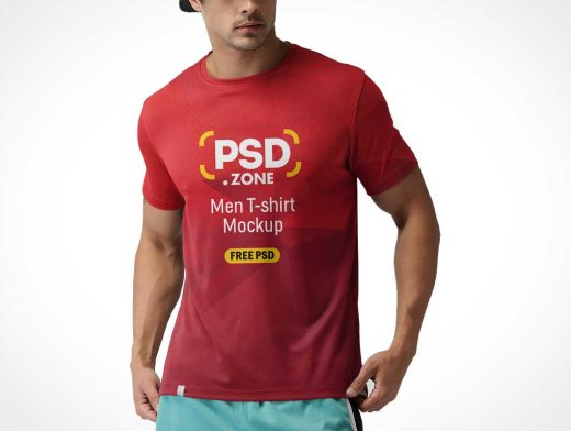 Men's T-Shirt Round Collar Cotton Fabric PSD Mockup