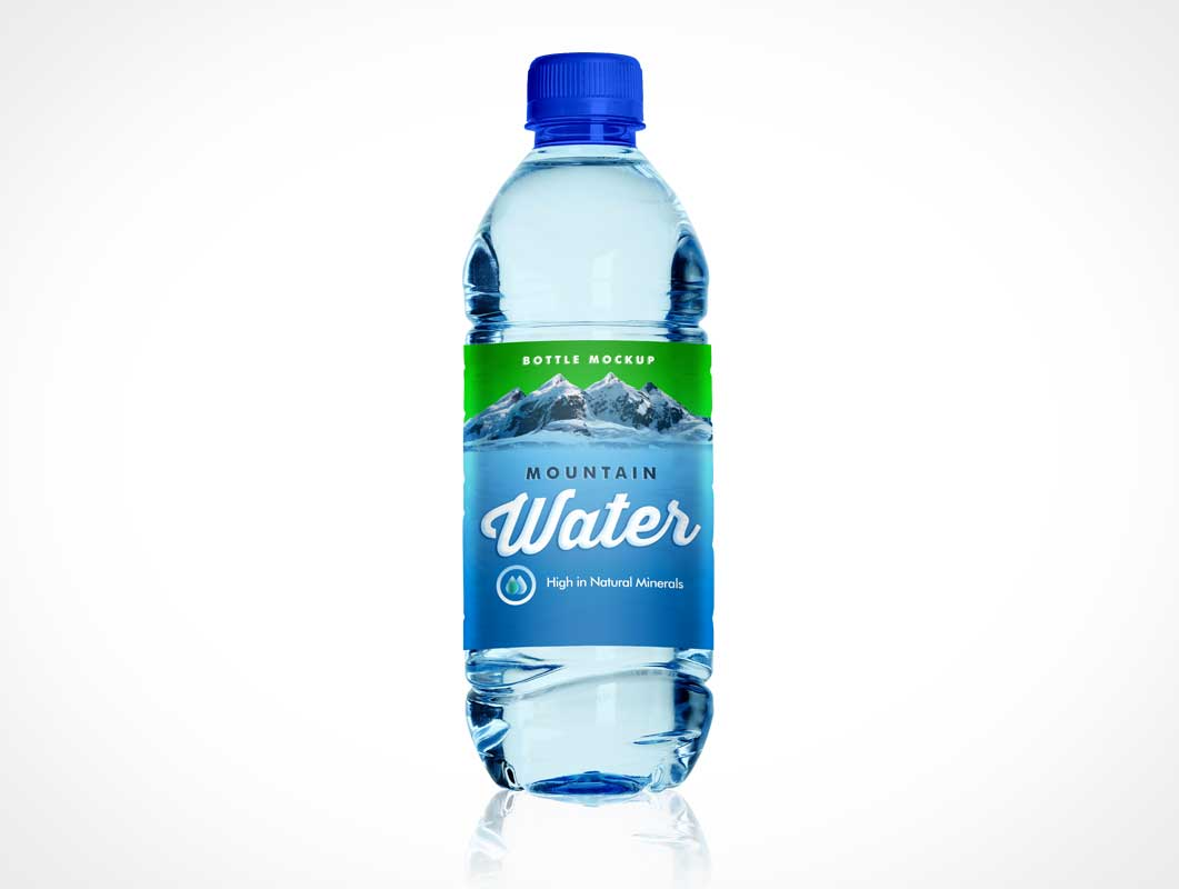 PET Plastic Water Bottle Front Label PSD Mockup