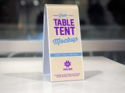 Plastic Table Tent Menu PSD Mockup