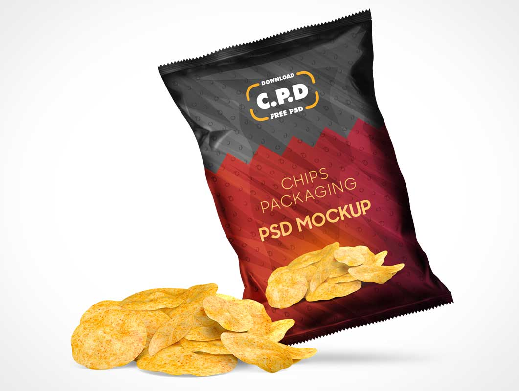 Sealed Foil Potato Chip Bag PSD Mockup