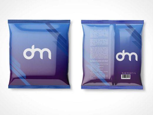 Sealed Foil Snack Food Pouch Front & Back PSD Mockup