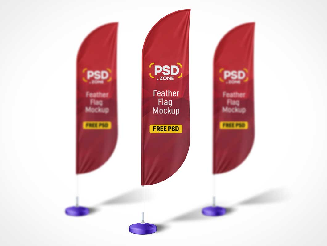 Tradeshow Event Feather Flag Banner PSD Mockup