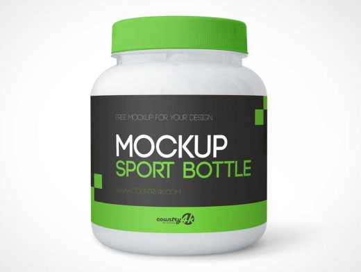 Wide Mouth Protein Whey Container & Plastic Lid PSD Mockup