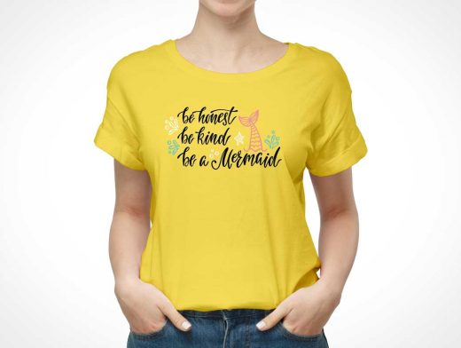 Women's Round Neck T-Shirt Cotton Fabric Front PSD Mockup