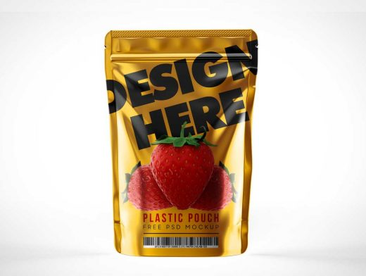 Ziplock Sealed Foil Snack Pouch Packaging PSD Mockup