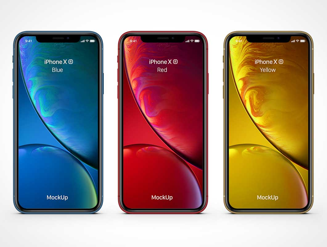 iPhone XR Smartphone & Screen Notch PSD Mockup