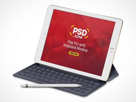 Apple Pencil, iPad & Keyboard Soft Cover PSD Mockup