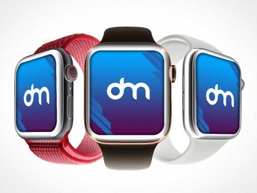 Apple iWatch Series 4 & Wristbands PSD Mockup