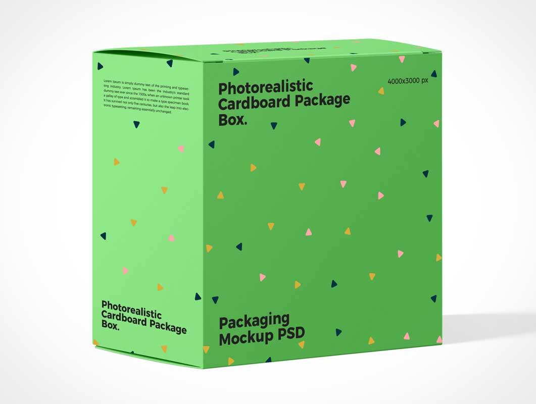 Cardboard Gift Box Package PSD Mockup