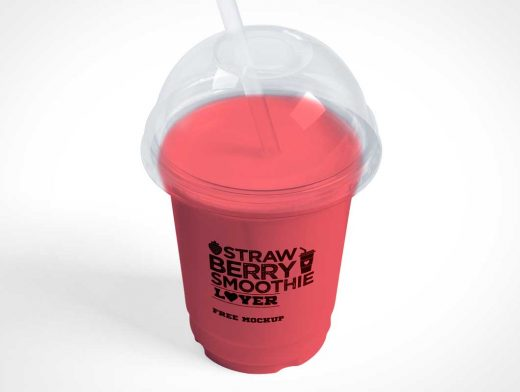 Clear Dome Plastic Smoothie Cup & Straw PSD Mockup