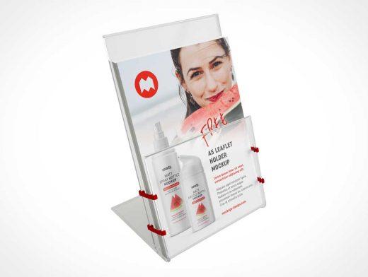Clear Plastic A5 Leaflet Dispenser PSD Mockup