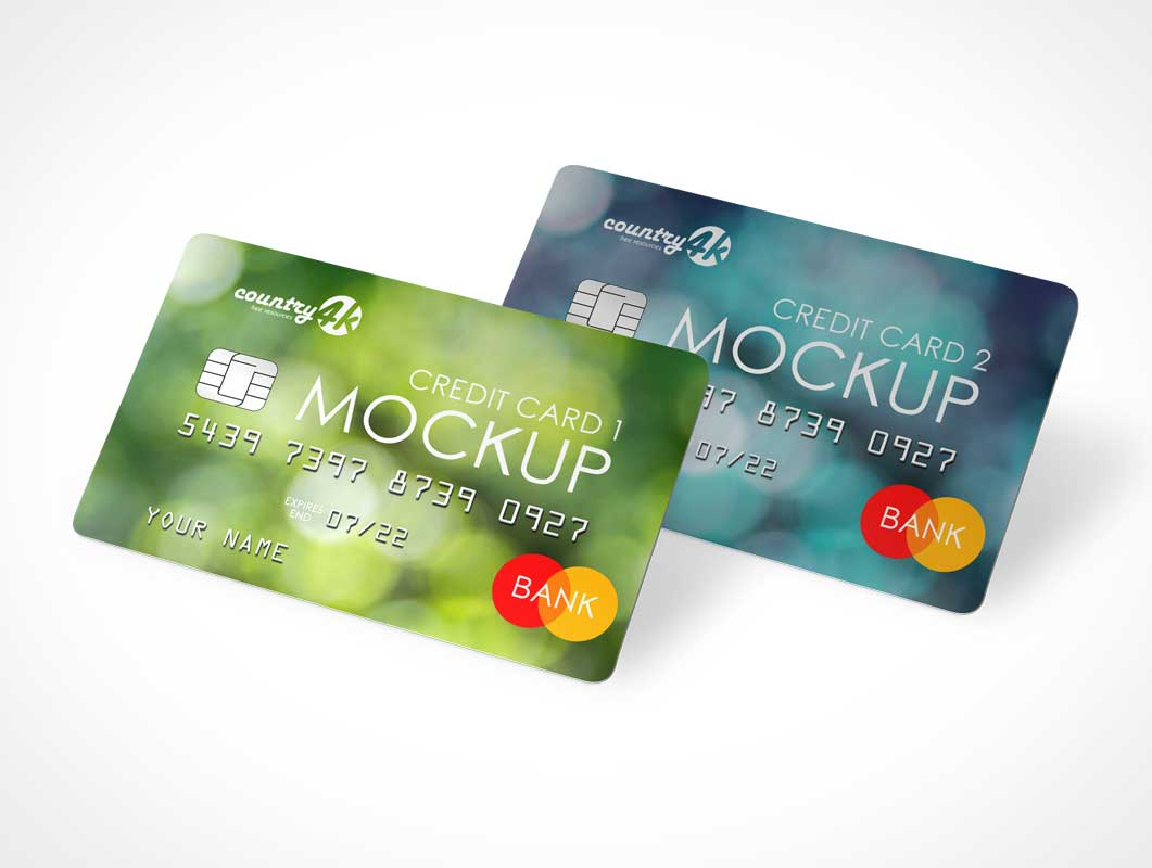 Embossed Credit Cards & Security RFID Chip PSD Mockup
