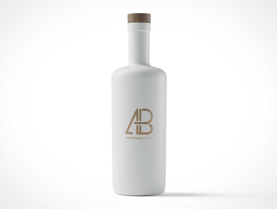 Flat White Glass Bottle & Wood Cap PSD Mockup