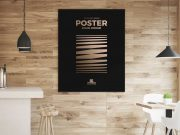 Framed Poster in Wood Panelled Restaurant PSD Mockup