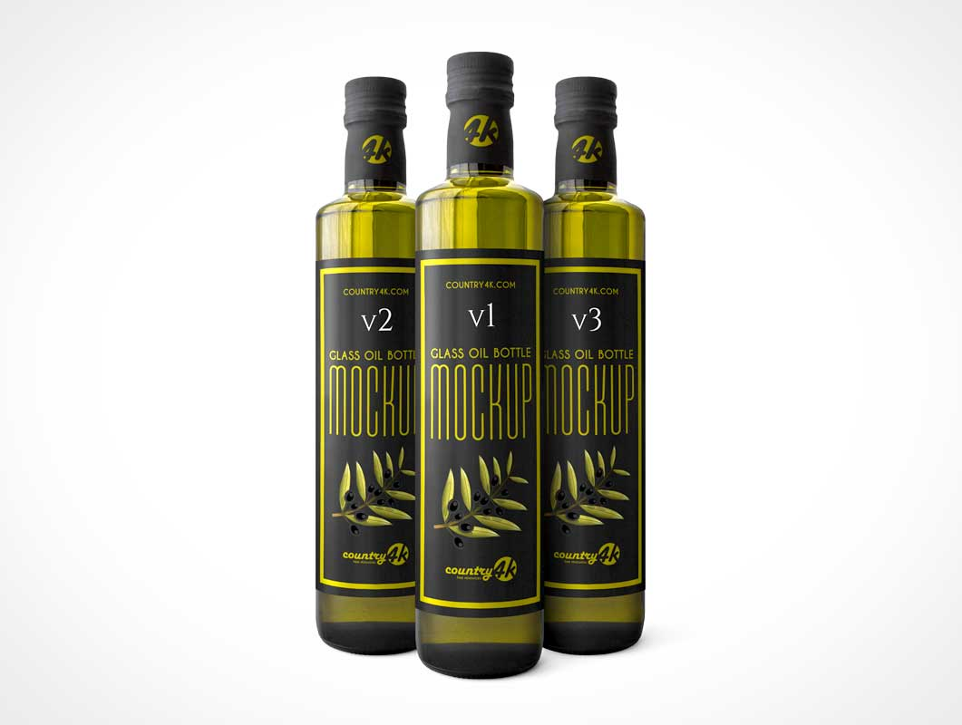 Green Glass Olive Oil Square Bottle PSD Mockup