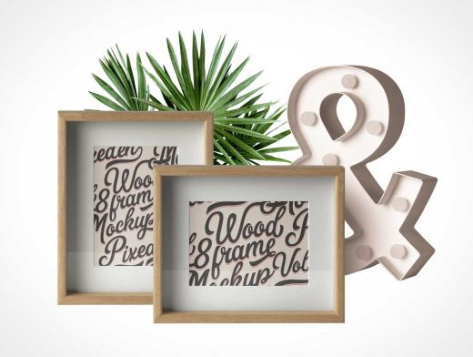 Inset Portait Photo & Wood Frame PSD Mockup