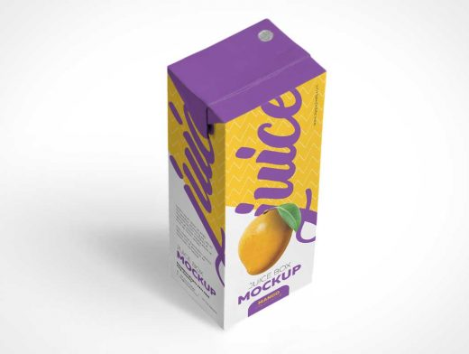Juice Box Container Packaging PSD Mockup