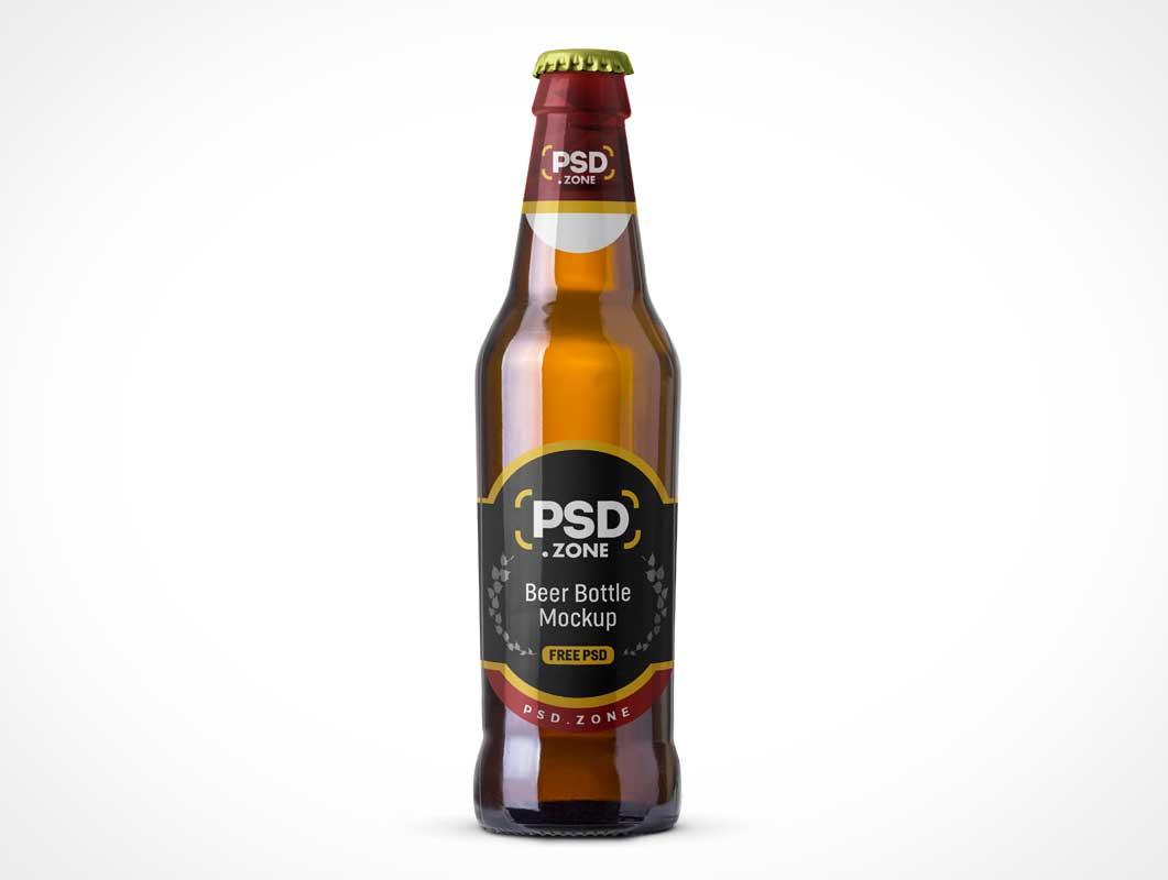 Long Neck Brown Glass Beer Bottle & Label PSD Mockup