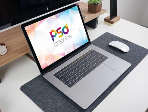 MacBook Pro Laptop Office Workspace & Mouse PSD Mockup