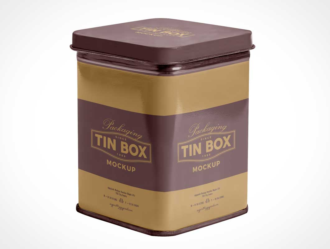 Metallic Tin Storage Box Packaging PSD Mockup