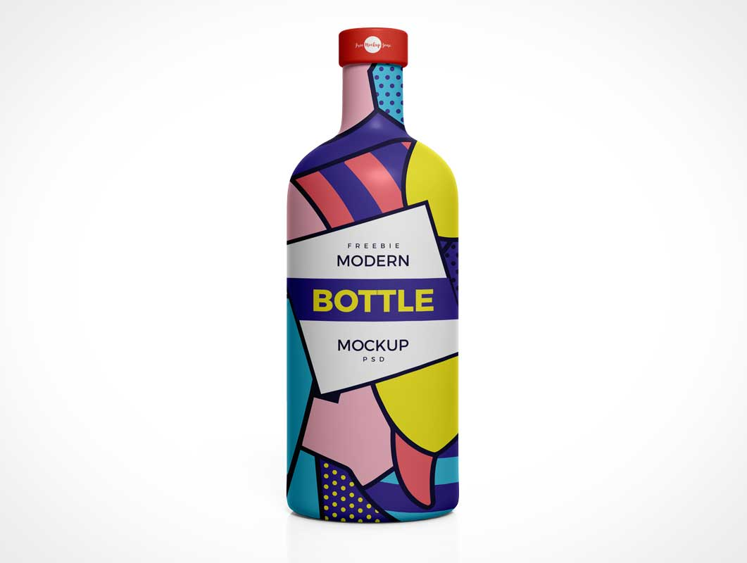 Modern High Shoulder Glass Bottle PSD Mockup