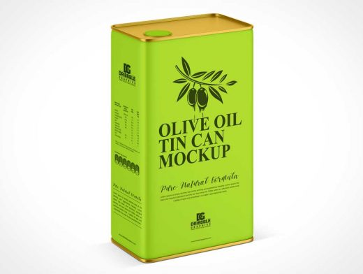 Olive Oil Tin Can Container & Pour Spout PSD Mockup