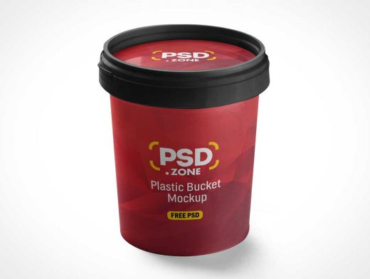 Peel Lid Bucket Container PSD Mockup