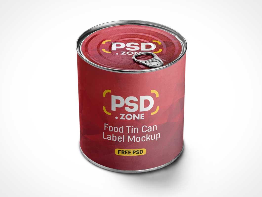 Perishable Tin Food Can & Pull Tab Lid PSD Mockup