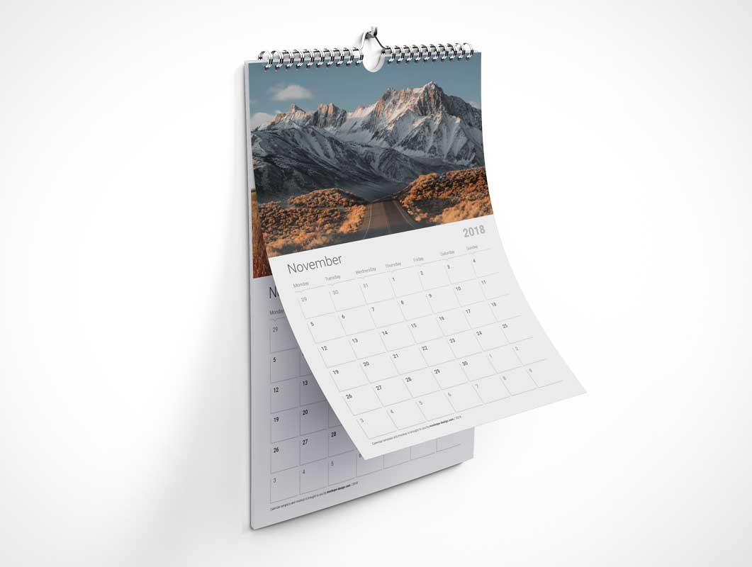 Portrait Mode Wall Calendar PSD Mockup