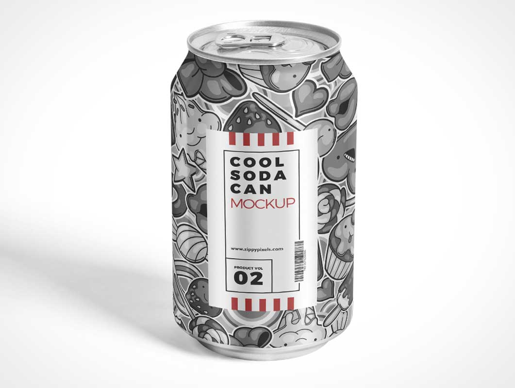 Soft Drink Soda Can & Pull Tab PSD Mockup