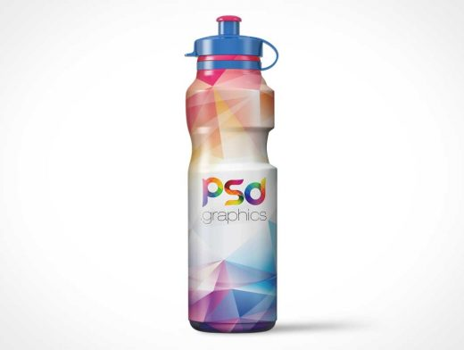 Sports Water Bottle & Plastic Spout PSD Mockup