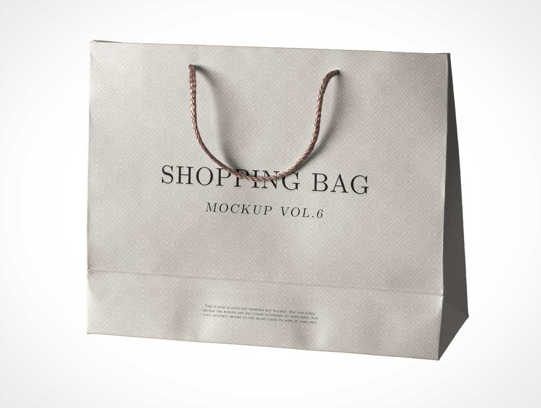 Unfolded Boutique Shopping Bag & Rope Carry Handle PSD Mockup