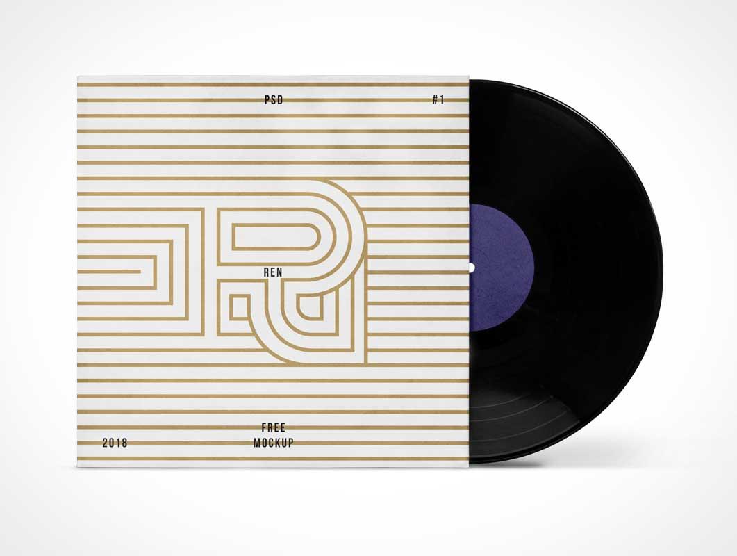Vinyl Music Record & Album Sleeve Cover PSD Mockup